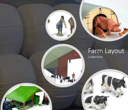 Farm Layout Diorama People Animals Buildings